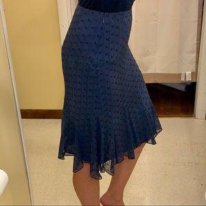 Express Size 3/4 navy eyelet knee length skirt.
